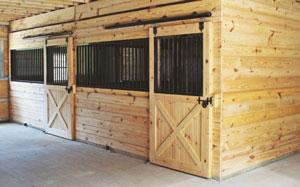 horse stalls inside large horse barn