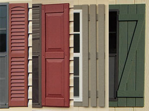 pine creek structures shutter options including louvered, raised panel, slat, and Z shutters