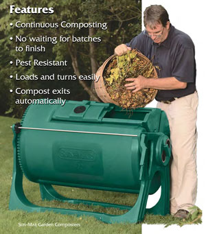 Sun-Mar Garden Composters features include continuous composting, no waiting for batches to finish, pest resistant, loads and turns easily, and compost exits automatically