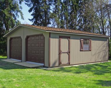 LP sided 2-car modular garage